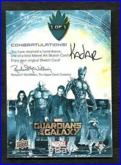 2014 Guardians of the Galaxy 1 of 1 Artist Sketch Card by Artist Frank Kadar