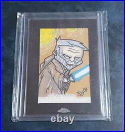 2014 Topps Star Wars Chrome Obi Wan Kenobi Sketch Card Artist Name Brian DeGuire