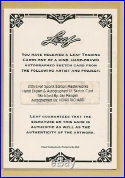 2015 Leaf Sports Ed Masterworks HENRI RICHARD AUTO Artist Sketch Card 1 of 1