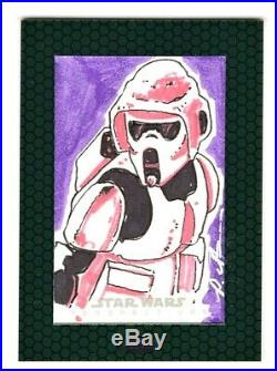 2015 Topps Chrome Star Wars Chrome Perspectives Artist Signed Sketch Card