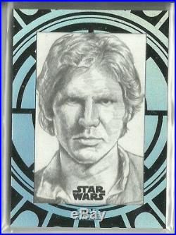 2015 Topps Star Wars High Tek Sketch Card Han Solo by Unknown Artist