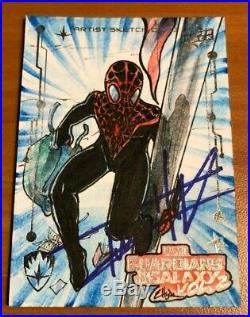 2016 Spiderman Marvel UD Artist Sketch Card 1/1 Autographed Tom Holland JSA GOG