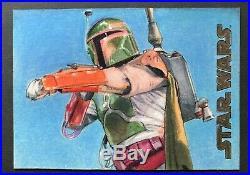 2016 Star Wars Evolution Sketch Card Artist Return Boba Fett Seth Ismart