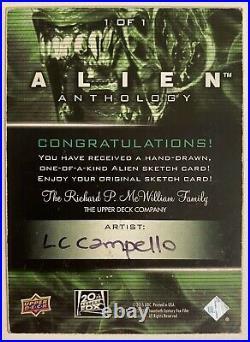 2016 Upper Deck Alien Anthology Artist Proof Sketch Card By Luiz Campello