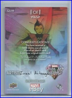 2016 Upper Deck Marvel Gems Sketch Card Wasp 1/1 Artist Israel Arteaga