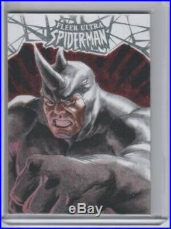 2017 Fleer Ultra Spider-man 1/1 Artist Sketch Card Rhino By Matias Streb