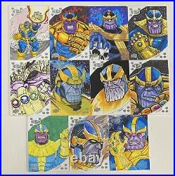 2017 Marvel Premier Lot of 11 Thanos Sketch Cards by Various Artists