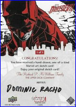 2017 UD Marvel Daredevil Artist Sketch By Dominic Racho Card 1/1