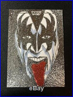 2018 Dynamite KISS Sketch Card Gene Simmons Red Glitter Tongue Artist #ed 1/1
