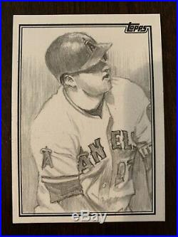 2018 Topps Baseball Mike Trout 1/1 Original Artist Proof Sketch Card