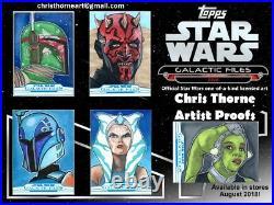 2018 Topps Star Wars Galactic Files BOBA FETT Sketch Card Artist Return