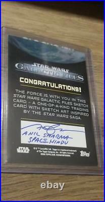 2018 Topps Star Wars Galactic Files REY SKETCH Artist ANIL SHARMA SPACE HINDU
