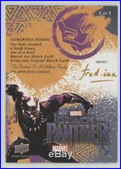 2018 Ud Marvel Black Panther Ramonda Sketch Card 1/1 Artist Fred Ian Avengers