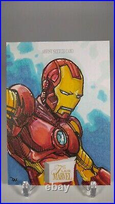 2019 Flair Marvel Artist Sketch Card Iron Man 1 of 1, 1/1 by David Hindelang