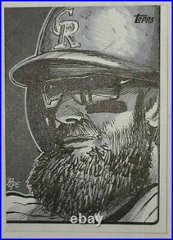 2019 Topps Charlie Blackmon Sketch Card 1/1 Darrin Pepe Artist FREE Shipping