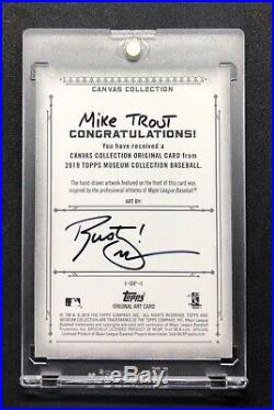 2019 Topps Museum Canvas Mike Trout Artist AUTO 1/1 Sketch Card