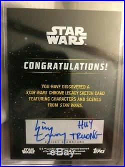 2019 Topps Star Wars Chrome Legacy Sketch Card Obi-wan Kenobi auto Artist 1/1