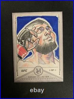 2019 Topps UFC Khabib Nurmagomedov 1/1 Matt Stewart Artist Return Sketch Card