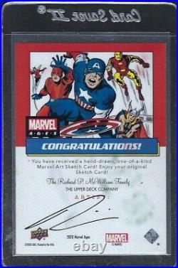 2020/21, Upper Deck Marvel Ages ARTIST SKETCH CARD INCREDIBLE HULK. 1 OF 1