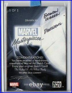 2020 Daredevil Marvel Masterpieces 1/1 Artist Sketch Card Brandon Warren Signed