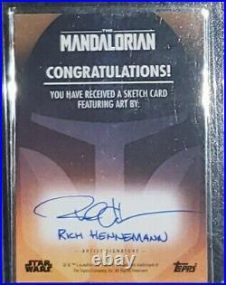2020 Mandalorian Rich Hennemann Sketch Card Signed Auto 1/1 Awesome Mando