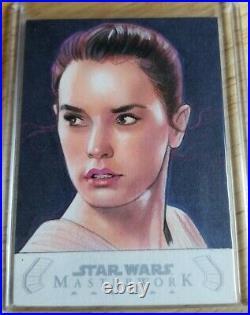 2020 Topps Masterwork Star Wars 1/1 REY Sketch Card Jason Davies Artist STUNNING