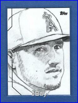 2020 Topps Series 2 Sketch Card Mike Trout 1/1, Artist Signed Original