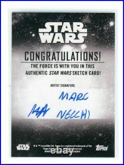 2020 Topps Star Wars Holocron John Boyega as Finn Marc Necchi Artist Sketch Card