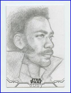 2020 Topps Star Wars Holocron Lando artist sketch card by Andrew Fernandes