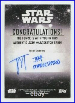 2020 Topps Star Wars Holocron Mandalorian artist sketch card by Jay Manchand