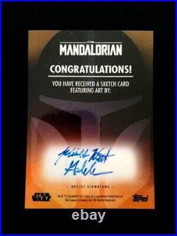 2020 Topps Star Wars Mandalorian Artist Sketch Card Mick And Matt Glebe Wow