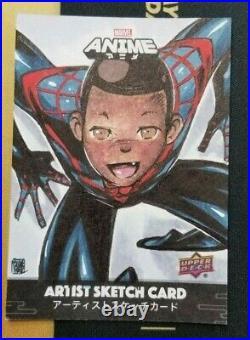 2020 UD Marvel Anime Sketch Card Melike Acar Artist Miles Morales