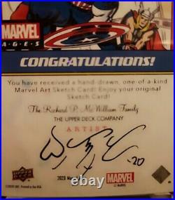 2020 Upper Deck Marvel Ages Captain America Artist Sketch Card 1/1 Jomar Bulda