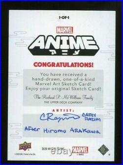 2020 Upper Deck Marvel Anime Artist Sketch Card (Thor) by Cathy Razim