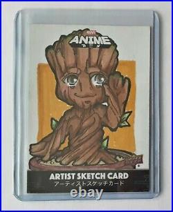 2020 Upper Deck Marvel Anime Artist Sketch Card by Splatterstars Baby Groot