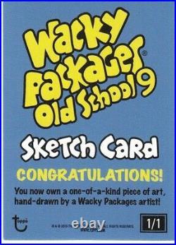 2020 Wacky Packages Old School 9 Sketch Card Pupsi Artist Smokin Joe