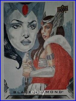 2021 Marvel Black Diamond Sketch Card 1/1 Lady Sif by Marcia Dye