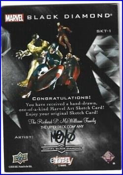 2021 Marvel Black Diamond Sketch Card HULK Artist M@Y0 Auto Signed MAYO 1/1
