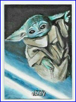 2021 Topps Mandalorian ARTIST SKETCH CARD Baby Yoda / The Child by Semra Bulut