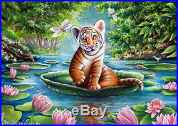ACEO original sketch card art Baby Tiger Cub Jungle River Lotus Flowers Mishkova