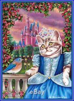 ACEO original sketch card art Cat Kitten Princess Cinderella castle M. Mishkova