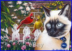 ACEO original sketch card art Cat Kitten Siamese Cardinal Birds Garden Mishkova