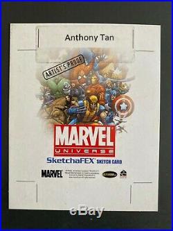 Anthony Tan AP artist proof large sketch card Marvel Universe Hulk vs Spider-Man