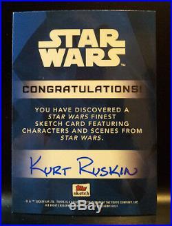 Artist Proof 2018 Star Wars Finest Millennium Falcon Sketch Card by Kurt Ruskin