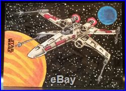 Artist Proof 2018 Topps Star Wars Finest X-Wing Sketch Card by Kurt Ruskin