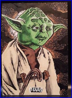 Artist Proof 2018 Topps Star Wars Finest Yoda Sketch Card by Kurt Ruskin
