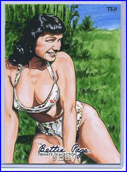 BETTIE PAGE Private Collection Oversized Sketch Card ARTIST PROOF AP Ted Dastick
