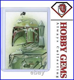 BOBA FETT Star Wars Topps Finest Artist Sketch Card 1/1 by Matthew Hirons