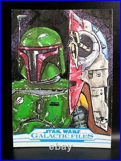 Boba Fett Galactic Files Star Wars Topps Sketch Card Artist Proof Kurt Ruskin