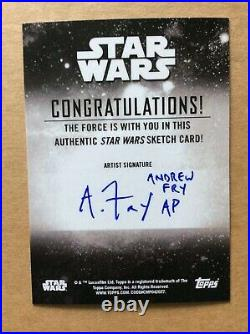 Cara Dune Topps Star Wars Holocron Sketch Card AP Artist Proof Andrew Fry